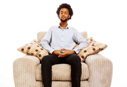 content man meditating
