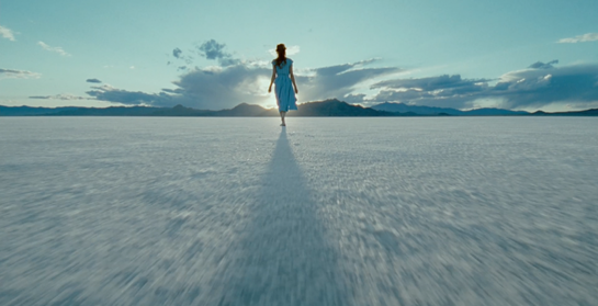 woman walking into future
