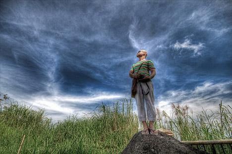 man watching sky