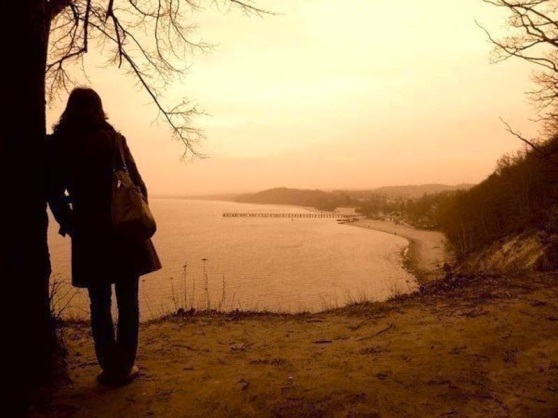 girl alone thinking