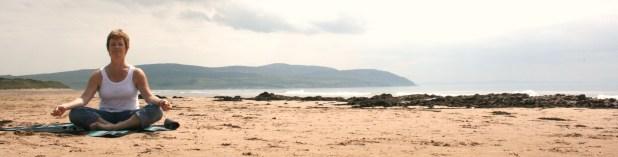 yoga val on Westport Beach Kintyre