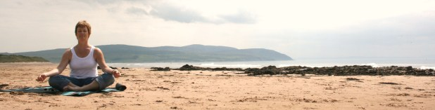 yoga val on Westport Beach Kintyre