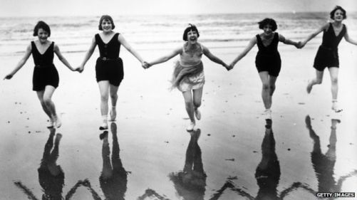 happy women on beach