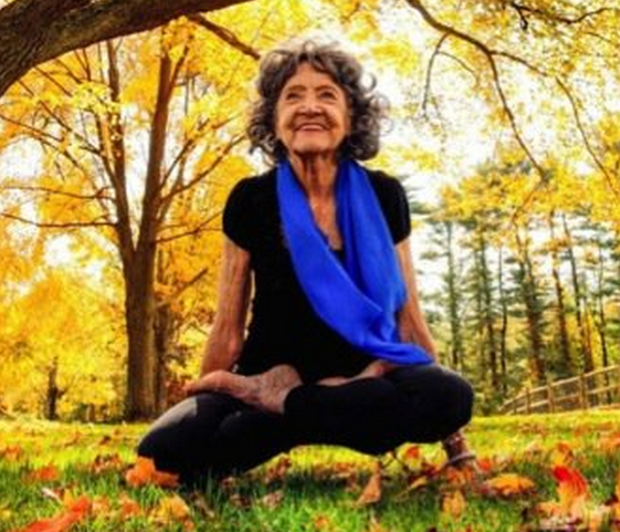 Tao Porchon-Lynch, who just turned 97 and holds the Guinness World Record for the world's oldest living yoga teacher.