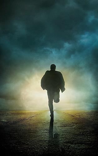 man running from shadow