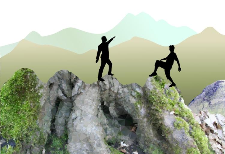 two men on mountain